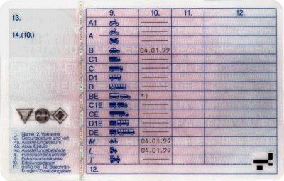 Führerschein Rückseite